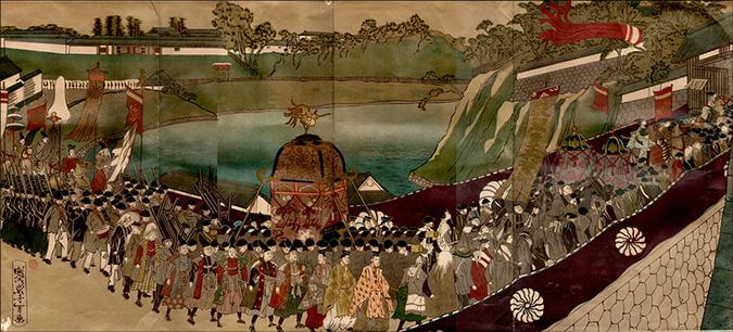 東京遷都の際、大洲藩は行列の先頭を、新谷藩はしんがりを務めた。